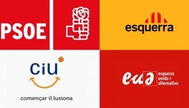 Los logotipos de los partidos políticos españoles