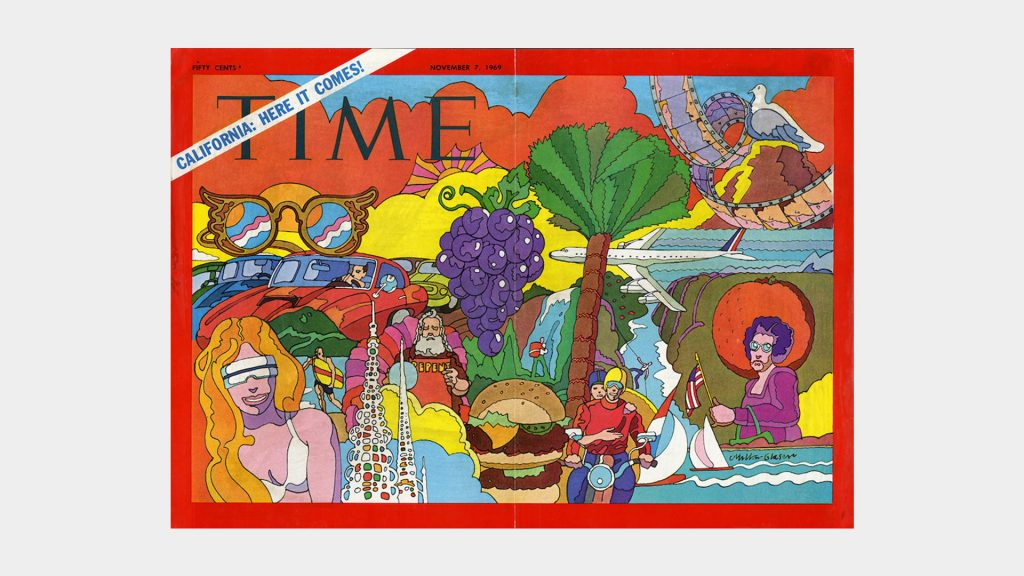 Portada sobre California para la revista Time. Edición del 7 de noviembre de 1969. Milton Glaser, Inc.