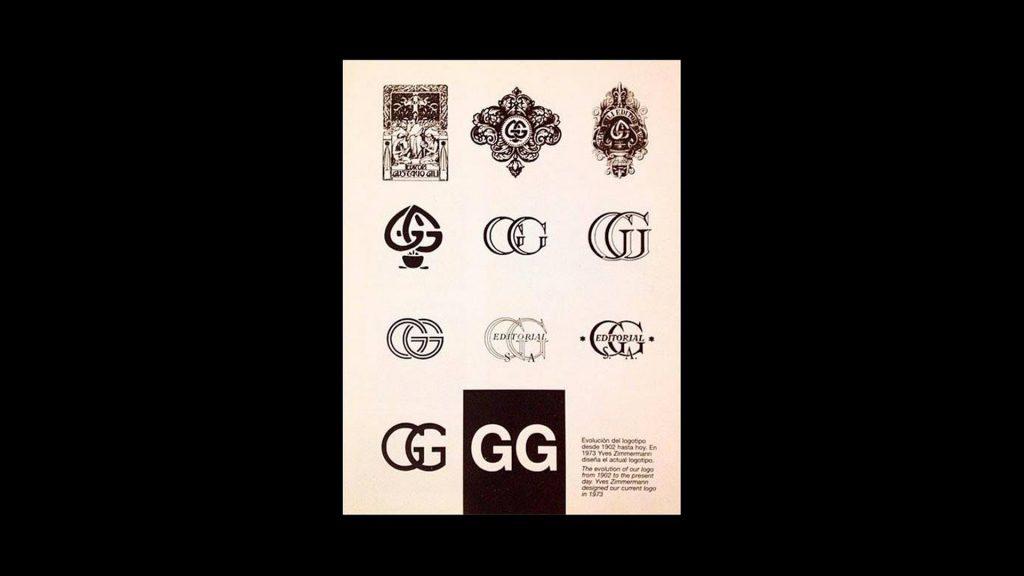 Evolución logos Gustavo Gili por Yves Zimmermann