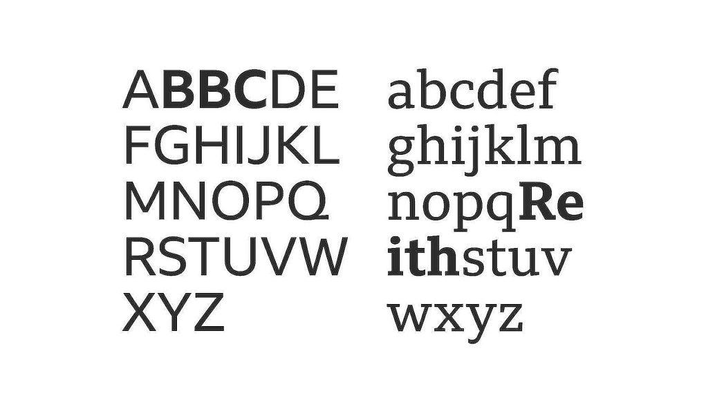 muestra de la tipografía BBC Reith