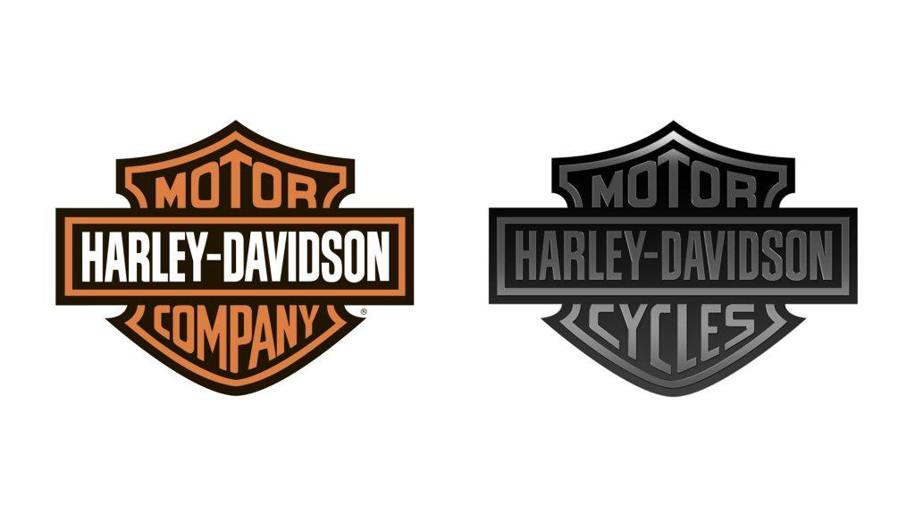 comparativa logo Harley-Davidson en naranja y negro
