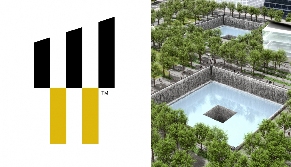 world trade center logo bloques negros inferiores representan 2 piscinas donde se encontraban las torres