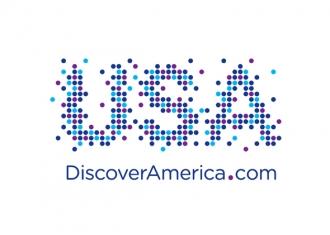 logo marca USA turismo en EEUU con el slogan descubre America